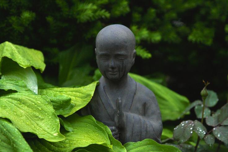 Steinbuddha mit Pflanzen